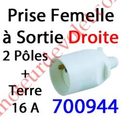 Prise Electrique Femelle 2 P + T 16 A IP 40? en Plastique Blanc à Sortie Droite