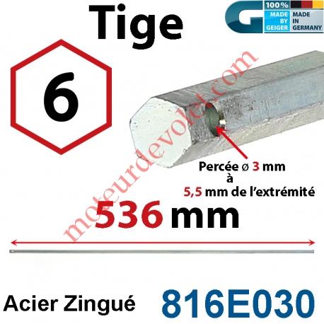 Tige Hexa 6 mm Lg 536 mm