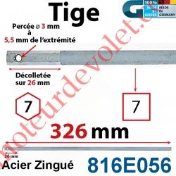 Tige Carré 7 mm Lg 326 mm Hexa 7 Lg 26 mm