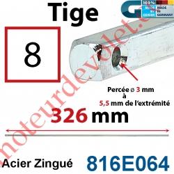 Tige Carré 8 mm Lg 326 mm