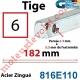 Tige Carré 6 mm Lg 182 mm