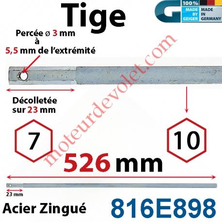 Tige Hexa 10 mm Lg 526 mm Hexa 7 Lg 23 mm