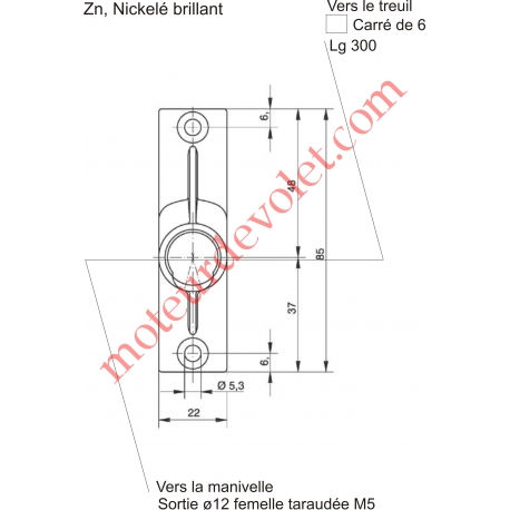 Sortie à 45° Zamac Nickelé Embase 22x85mm 2 Trous Entrée ø12 Femelle Avec Vis - Sortie Carré 6 Mâle lg 300mm