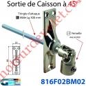 Sortie à 45° Zamac Nickelé Embase 22x85mm 3 Trous Entrée ø12 Femelle Avec Vis - Sortie Carré 6 Mâle lg 300mm