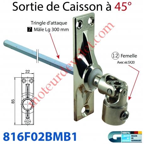 Sortie à 45° Zamac Nickelé Embase 22x85mm 3 Trous Entrée ø12 Femelle Avec Vis - Sortie Carré 7 Mâle lg 300mm