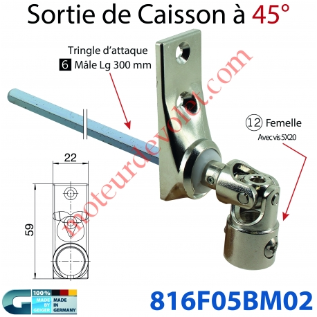 Sortie à 45° Zamac Nickelé Embase 22x59mm 2 Trous Entrée ø12 Femelle Avec Vis - Sortie Carré 6 Mâle lg 300mm