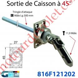 Sortie à 45° Zamac Nickelé Emb 27X45mm 4 Trous Entrée ø11,9 Mâle - Sortie Carré 6 Mâle Lg 300mm
