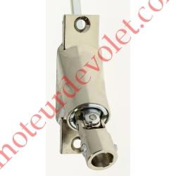 Sortie à 90° Zamac Nickelé Embase 22x85mm 2 Trous Entrée ø12 Femelle Avec Vis - Sortie Carré 6 Mâle lg 300mm