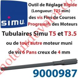 Outil de Réglage Rigide des Vis de Fins de Courses Progressifs Forme Hexagonale 4mm Longueur 125mm