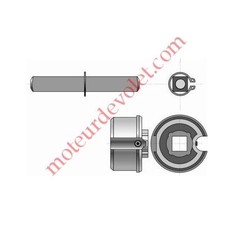 Embout Réglable pour Tube Rond ø 50 mm 15/10 Avec Carré de 13 mm Mâle