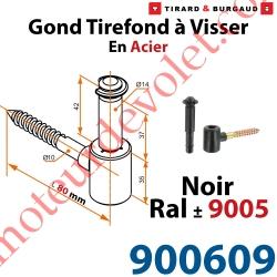 Gond Tirefond à Visser Longueur 80 mm Axe ø 14 mm en Acier et Matériau Composite Noir ± Ral 9005