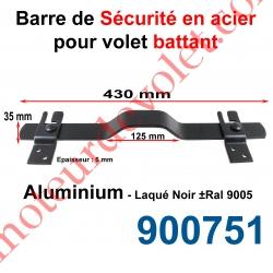 Barre de Sécurité en Oméga Lg 430 mm pour Volet Battant en Alu Plat 35x6 mm Avec 2 Supportst Laqués Noir ± Ral 9005