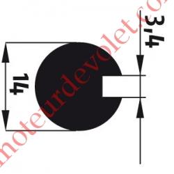 Adaptateur d'Axe ø 14 mm Rainuré sur 3,4 mm de Large pour Moteur de Bso J4