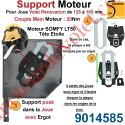 Support Moteur LT 50, Universel pour Joue Zamac de 125 à 165 mm