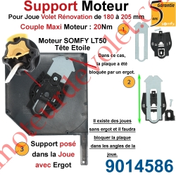 Support Moteur LT 50, Universel pour Joue Zamac de 180 à 205 mm