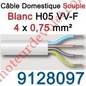 Câble H05VVF Blanc 4 x 0,75 mm² (le mètre)