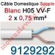 Câble H05VVF Blanc 2 x 0,75 mm² (le mètre)