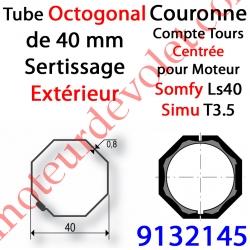 Couronne pour Moteur LS 40 ou T 3.5 dans Tube Octo 40 Deprat 6 & 8/10 à Sertissage Extérieur