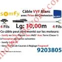 Câble H05VVF Blanc 4 x 0.75 mm² lg 10,00 m Avec Prise Noire pr Moteur LT Filaire