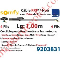 Câble H05RRF Noir Résistant aux Ultraviolets 4 x 0.75 mm² lg 1,00 m Avec Prise Noire pour Moteur LT Filaire