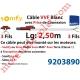Câble H05VVF Blanc 3 x 0.75 mm² lg 2,50 m Avec Prise Marron ou Grise pour Moteur LT Rts ou io