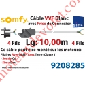 Câble H05VVF Blanc 4x0.75 mm² lg 10,00 m Av Prise Noire pr Moteur LT Csi Filaire