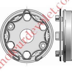 Support Moteur Somfy LT à Tête Etoile pour Volet Roulant Avec Anneau Sans Boucle en Inox 2 Trous diamètre 6,5mm entr'axes 44mm