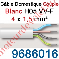 Câble H05VVF Blanc 4 x 1,5 mm² (le mètre)