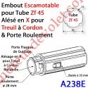 Embout Escamotable Zf 45 Porte Roulement ø28 Alésé en X de 10 mm Femelle pour Treuil à Chainette