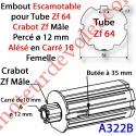Embout Escamotable Zf 64 Crabot Zf Mâle Alésé ø12 mm Pds Tab Max 25 kg