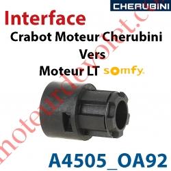Interface Crabot Moteur Cherubini vers Crabot Moteur Somfy LT permet d'utiliser les Roues de la Gamme Somfy LT