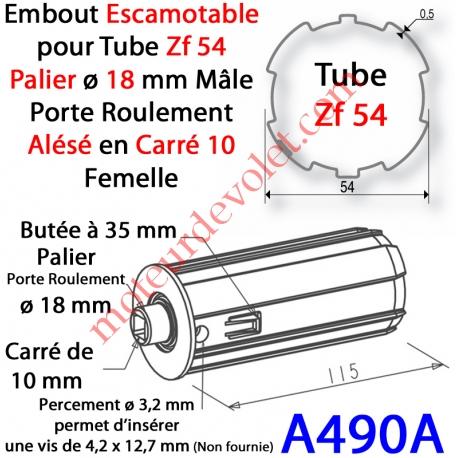 Embout Escamotable Zf 54 Téton ø18 Mâle Alésé en Carré de 10 mm Femelle