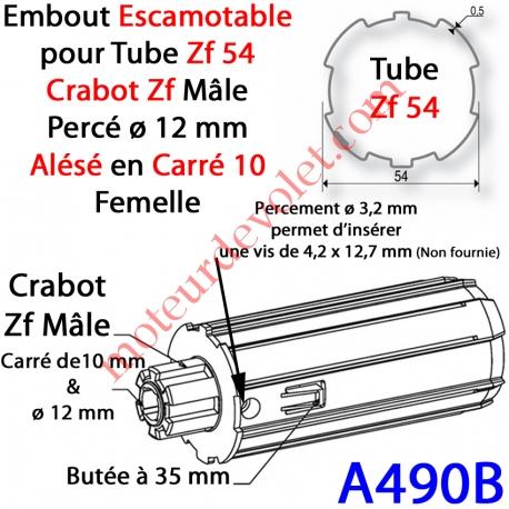Embout Escamotable Zf 54 Crabot Zf Mâle Alésé ø12 mm Pds Tab Max 25 kg