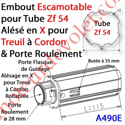 Embout Escamotable Zf 54 Porte Roulement ø28 Alésé en X de 10 mm Femelle pour Treuil à ChaInette