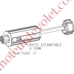 Tandem Escamotable Zf 54 à Crabot Mâle Alésé en Carré de 10 mm & ø12 mm Femelle