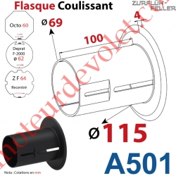 Flasque Coulissant ø 115 mm pour Tubes Zf 64 & Octo 60