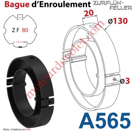 Bague Nylon Largeur 20 mm avec 2 Trous ø 3 pour tube ZF 80 ø Ext 130 mm