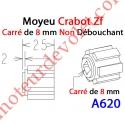 Moyeu Crabot Zf Mâle - Carré de 8 mm Femelle Non Débouchant