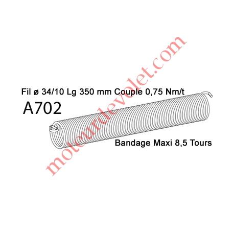Ressort Type X Fil 34/10 x 350 mm