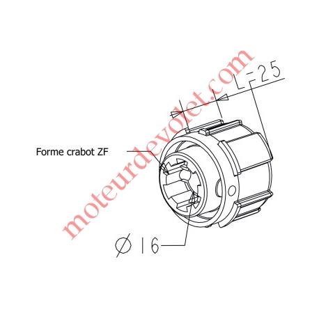 Embout Zf 54 à Crabot Zf Femelle Percé ø 16 mm Femelle pour Compensateur