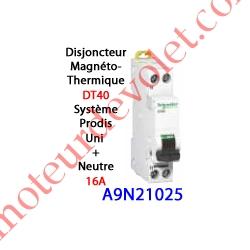 Disjoncteur Magnétothermique DT40 Prodis Peignable Uni + Neutre 16 Ampères Courbe C-6kA 1 Mod