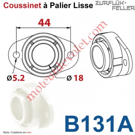 Coussinet Palier Lisse Av 2 Tr ø5,2 Entr'axes 44 øInt 18 Ep 16 Polyoxyméthylène