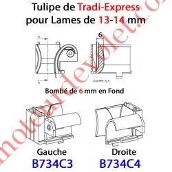 Tulipe Tradi Express Gauche pour Lame de 13 à 14 mm Bombé de 6 mm en Fond Coloris Noir
