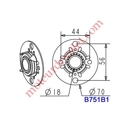 Support  Circulaire  Acier  Galv ø 70 Avec Roulement à Billes ø 18 mm