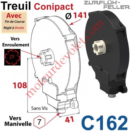 Treuil  Conipact Entrée Hexa 7 Femelle Sortie Crabot Zf Mâle Avec FdC Réglé à Droite Sans Vis