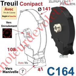 Treuil  Conipact Entrée Hexa 7 Femelle Sortie Crabot Zf Mâle Avec FdC Réglé à Gauche Avec Vis