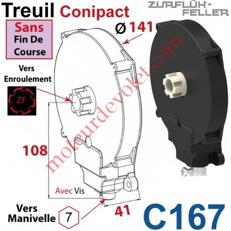 Treuil Conipact Entrée Hexa 7 Femelle Sortie Crabot Zf Mâle Sans FdC Avec Vis