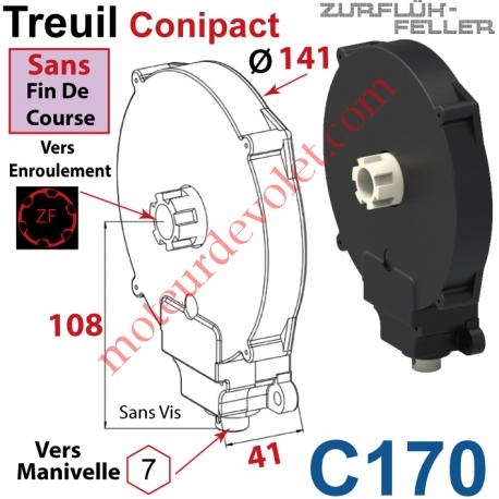 Treuil  Conipact Entrée Hexa 7 Femelle Sortie Crabot Zf Mâle Sans FdC Sans Vis