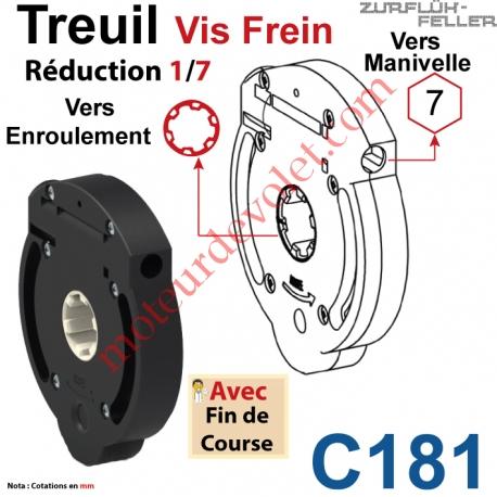 Treuil Vis Frein Réd 1/7 Entrée Hexa 7 Femelle Sortie Crabot Zf Femelle