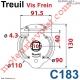 Treuil Vis Frein Réd 1/7 Entrée Hexa 7 Femelle Sortie Carré 10 Femelle